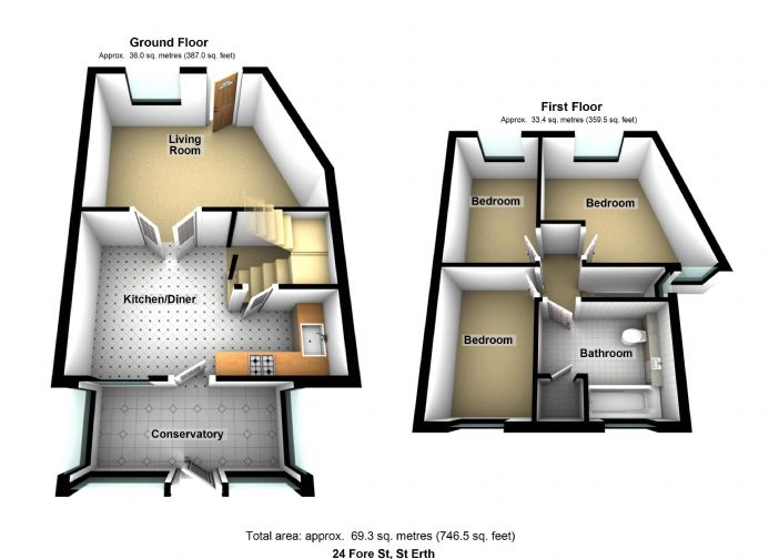 Floorplan 1 of  for sale in St Erth